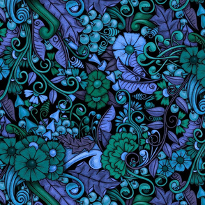 Zen Doodle Garden--bright blues and greens on black background