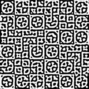 circles in squares in black and white - Turing pattern 6
