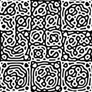 checkered mudcloth Turing pattern 4 - black and white