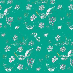 Ornamental Garden  Vintage Block Print - Aquamarine