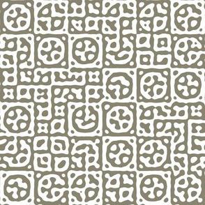 circles in squares in grey - Turing pattern 6