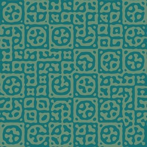 circles in squares in Moroccan teal - Turing pattern 6
