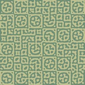 circles in squares in Moroccan salt green - Turing pattern 6