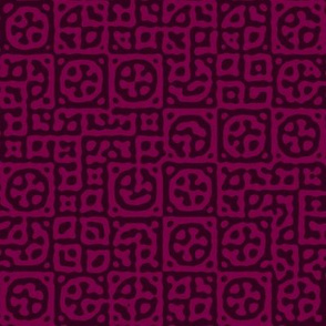 circles in squares in Tyrian purple - Turing pattern 6