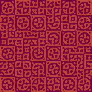 circles in squares in Moroccan red - Turing pattern 6