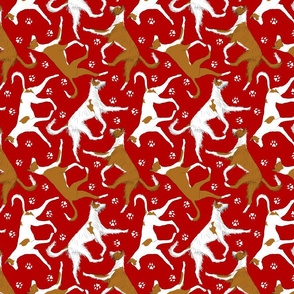 Trotting Ibizan hounds and paw prints - red