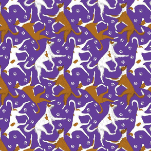 Trotting Ibizan hounds and paw prints - purple