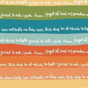 Angel of God Prayer on Rainbow Stripes
