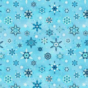 Tossed Snowflakes Ice Blue