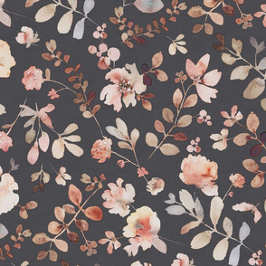Sunday floral - dark large / orange brown watercolor