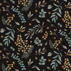 Australian native wattle eucalyptus watercolor floral black - MEDIUM