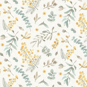 Australian flora MEDIUM SCALE Wattle and eucalyptus watercolor