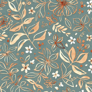 Flowers and seeds (copper teal) large scale