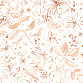 Flowers and seeds (copper pink on white) large scale