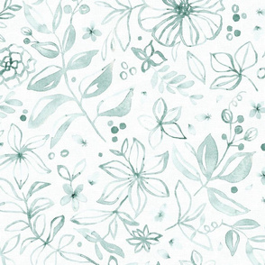 Flowers and seeds (teal on white) large scale