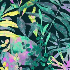 Jungle Vivid - colorful tropical flora - large scale
