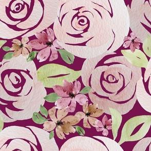 antique roses in burgundy