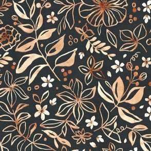 Flowers and seeds (copper black) large scale
