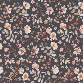 Sunday floral - dark medium / orange brown watercolor