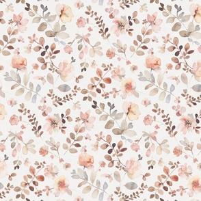 Sunday floral - light medium / orange brown watercolor