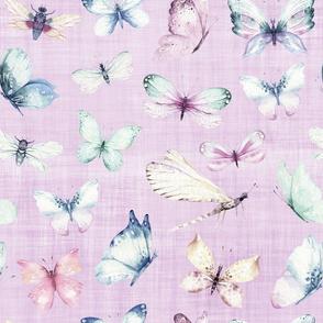 butterfly lilac linen