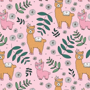 Llama flower power boho garden botanical spring indian summer daisies and leaves neutral nursery pink ochre green girls