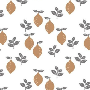 The Minimalist citrus garden scandinavian boho style lemons and leaves neutral nursery pattern ochre gray white