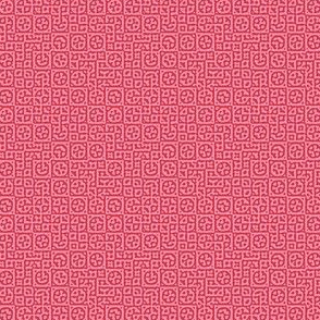 tiny circles in squares in red and pink - Turing pattern 6