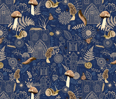 on the forest floor - blue with gold accents-16 in