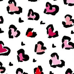 Little Valentine hearts leopard design messy animal print boho nursery trend pink red blush peach on white diagonal