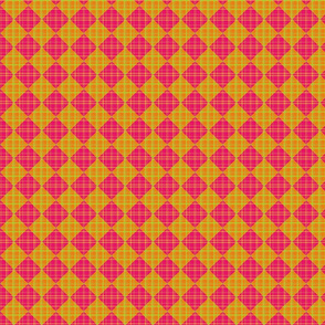Checkered Plaid - pink and orange