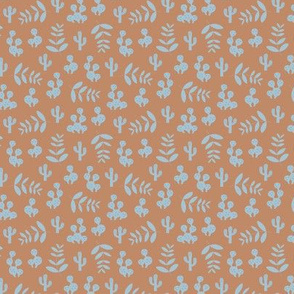 Little tiny cactus garden and summer leaves jungle design in vintage colors caramel brown baby blue