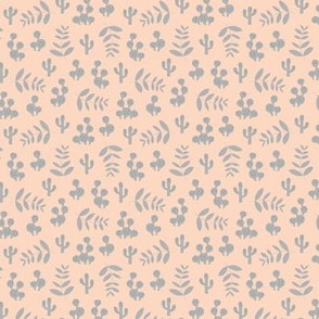 Little tiny cactus garden and summer leaves jungle design in vintage colors creme beige soft gray