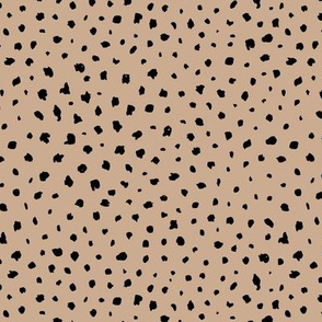 Little messy spots and speckles panther animal skin abstract minimal dots in black beige khaki latte SMALL