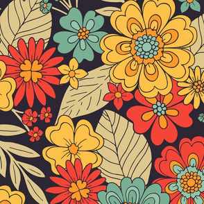 Large-Scale Bright, Colorful Modern Floral