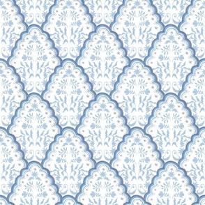Medium Softened blues SCALLOPED EDGES PAISLEY TEXTURE