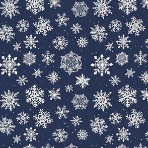 Small Snowflake Navy Dark Blue Winter Holiday Icy