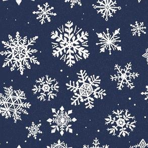 large Navy Snowflake Dark blue Snow Icy Winter Holiday