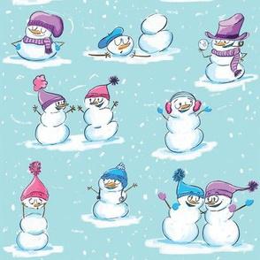 Snowmen Snowpeople Snowball fight
