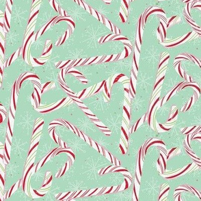 Small Candy Cane Mint green Winter Holiday Christmas