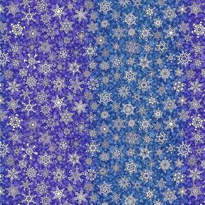 2 tone violet purple sapphire blue snowflakes on snowstorm
