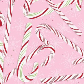 Large Pink Candy Canes Winter Holiday Christmas