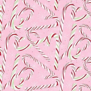 Small Candy Canes Pink Holiday Winter Christmas