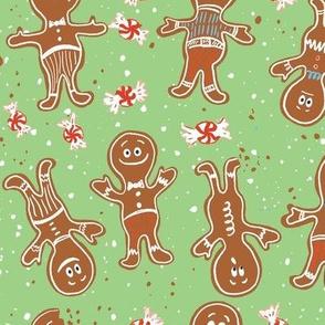 large gingerbread folks christmas cookies green