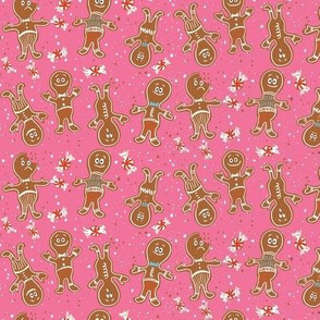 Small gingerbread folks pink christmas cookies winter holiday