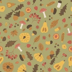 Autumn Halloween seamless pattern