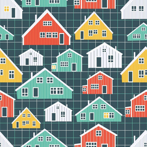 Colorful wooden houses on checkered background
