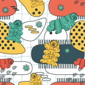 White, blue, yellow, pink colorful repeat seamless pattern of water bears or tardigrades