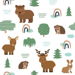 Cute cartoon forest animals