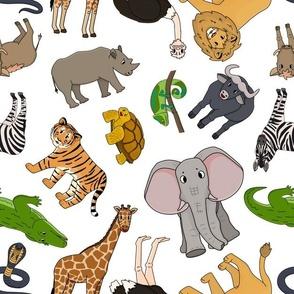 Seamless pattern of vector cartoon outline Savannah animals